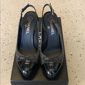 Chanel Black Patent Leather Pumps